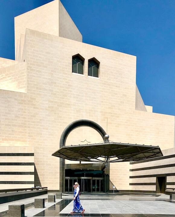 exterior museum of Islamic art and woman