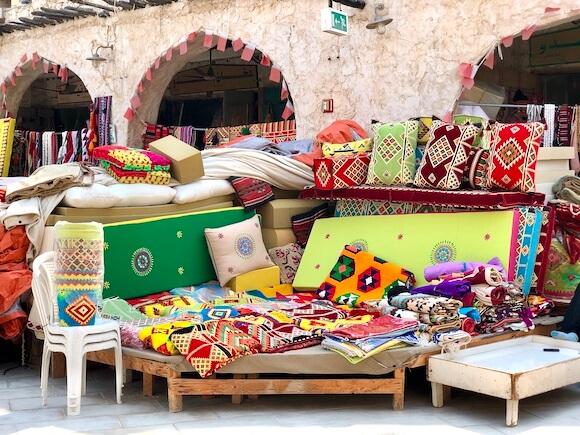 textiles in souq waqif market