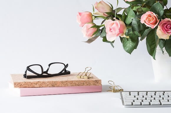 eyeglasses with flowers and books
