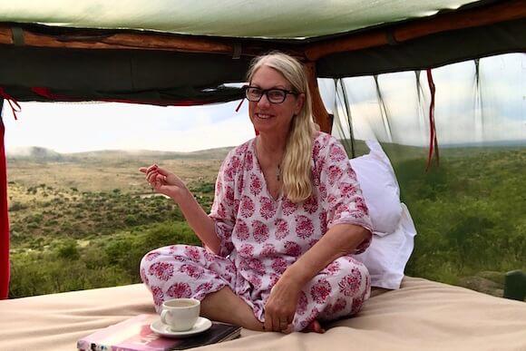 woman at Loisaba star beds