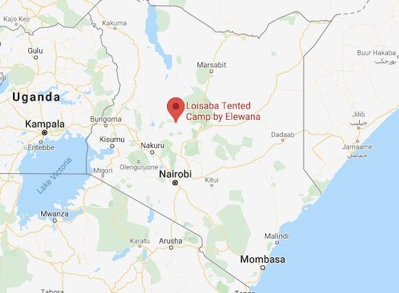 map location Loisaba tented camp Kenya