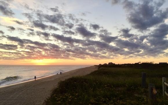sunset on Nantucket beach