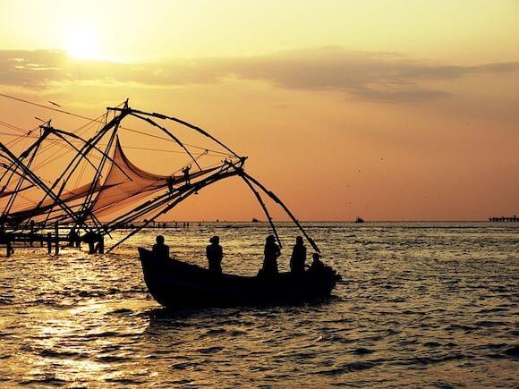 sunset traditional fishing Kerala