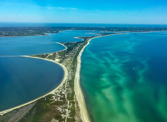 aerial view of beaches in Nantucket