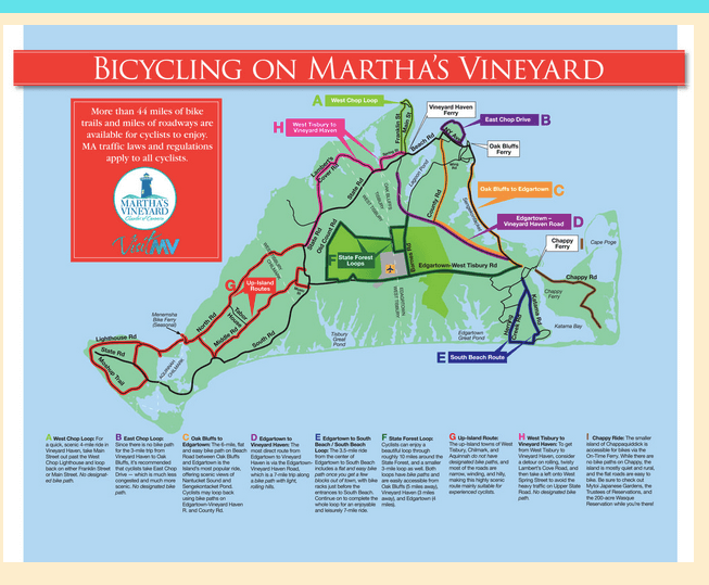 Map of bicycle routes in Martha's Vineyard