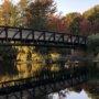 Hiking over bridge in Boston