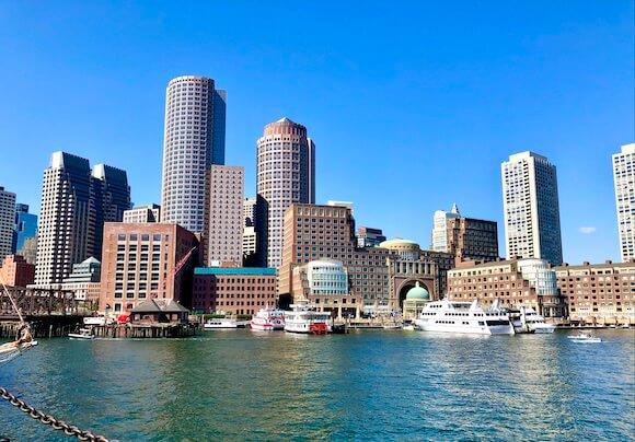 Harbor view of Boston from harborwalk