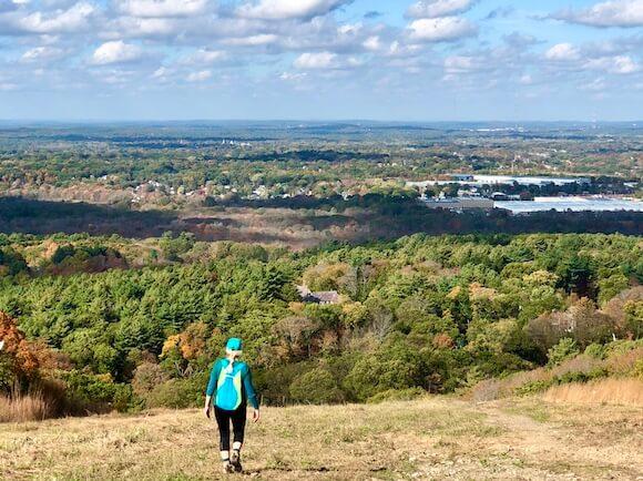 Woman at Blue Hills hiking Boston