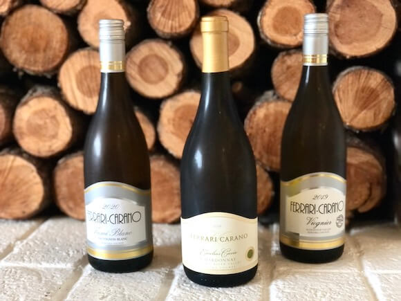 three bottles Ferrari Carano white wine