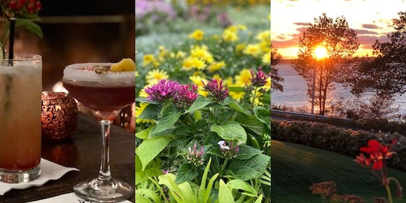 cocktails, flowers and sunset Black Point Inn