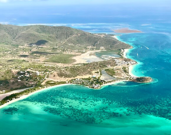 Aerial view of Antigua island and Caribbean.