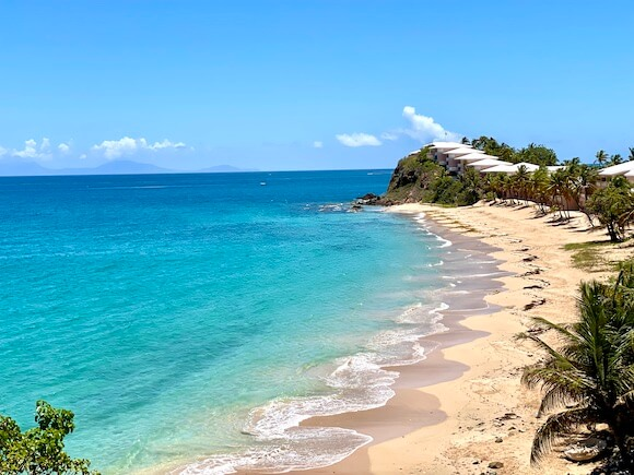 Isolated beach and blue Caribbean water