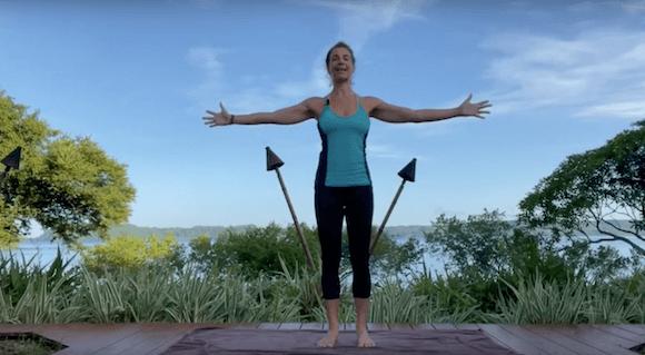 woman beginning yoga class
