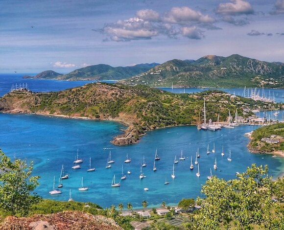 overlooking harbor with sailboats in English Harbor Antigua